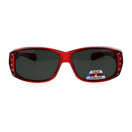 Bronze Transparent Sunglasses (Polarized 56mm Rhinestone Trim Translucent Plastic Rectangular Fit Over Sunglasses)