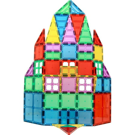 Magnet Trio Set - Magnet Build Deluxe 60 Piece 3D Magnetic Tile Building Set Extra Strong Magnets and Super Durable Tiles, Educational, Creative, Assorted Shapes and Vibrant Bright Colors