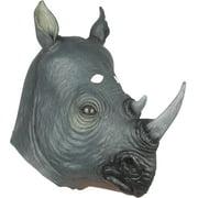 Loftus Realistic Rhinoceros Costume Full Head Mask, Grey Black, One Size