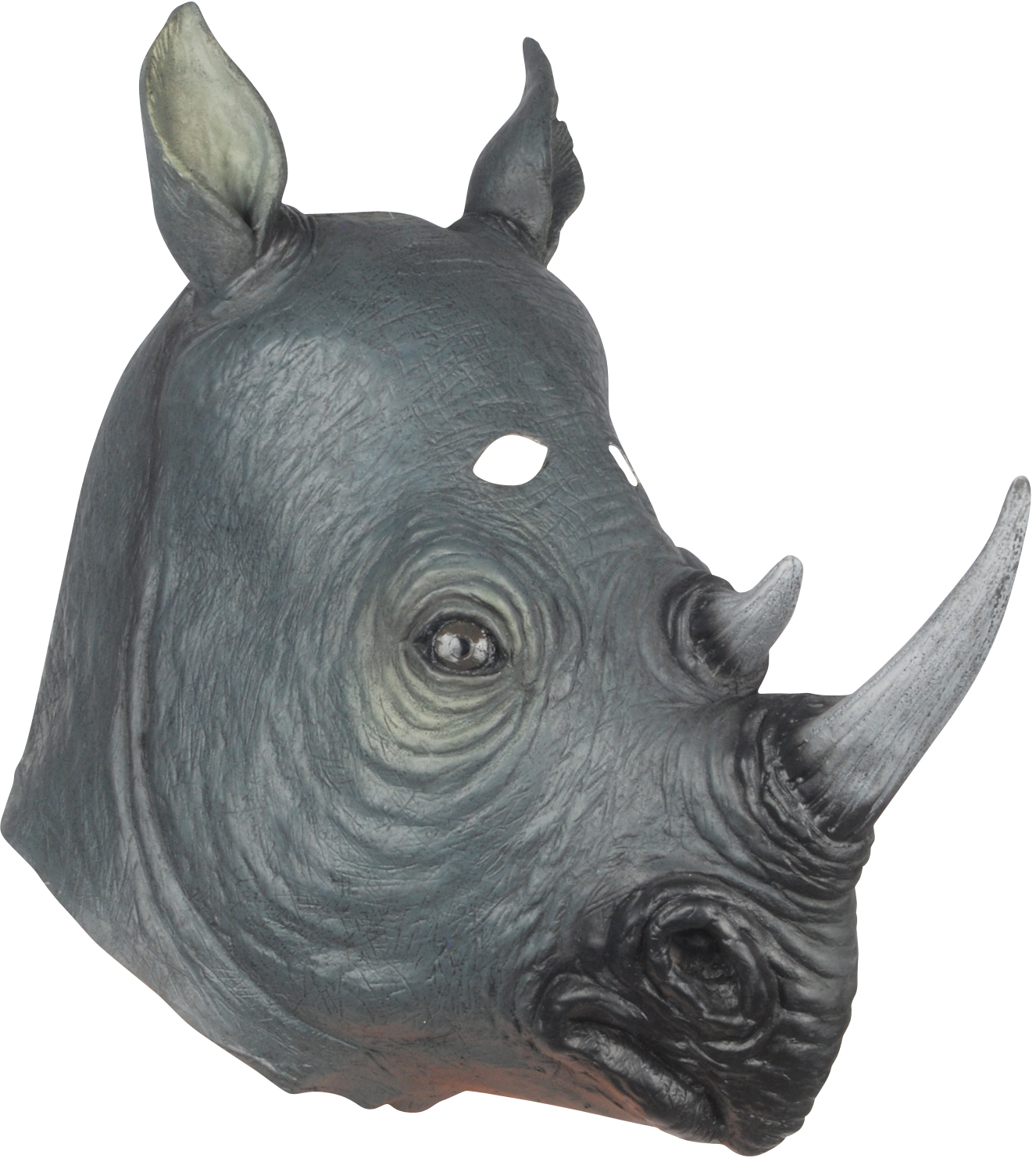 Loftus Realistic Rhinoceros Costume Full Head Mask, Grey Black, One Size