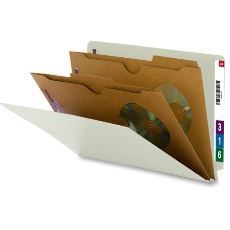 Smead, SMD29710, Pocket Style End Tab Classification Folders, 10 / Box, Gray,Green Pocket Style Classification Folders
