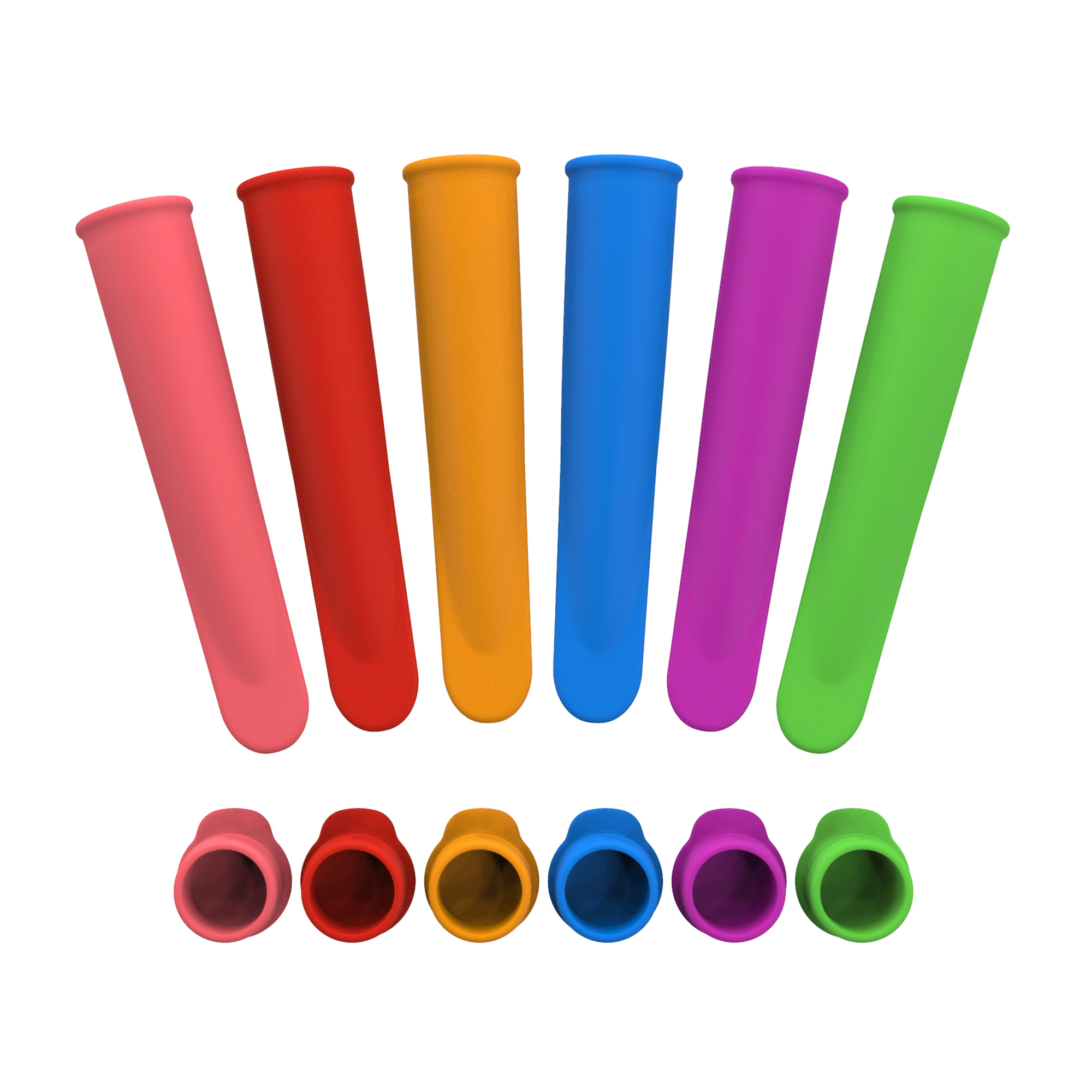 Silicone Ice Pop Mold- Colorful Frozen Dessert Makers, Reusable Tube for Homemade Flavored Ice Treats, Rainbow (Set of 6) by Chef Buddy
