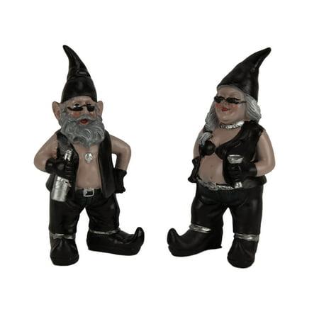 Gnoschitt and Gnofun Thirsty Biker Gnomes Statue Motorcycle Leather 8 inch 8' Sacred Heart Statue