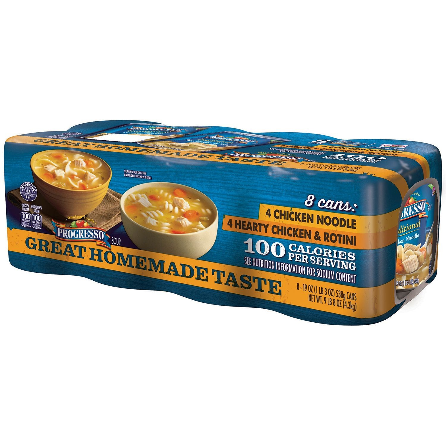 Progresso Chicken Noodle and Hearty Chicken and Rotini Soup 19 oz. 8 Pack