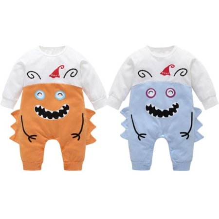 Cute newborn baby boy girl Halloween monster funny costume long sleeve round neck jumpsuit - Newborn Baby Costumes Halloween