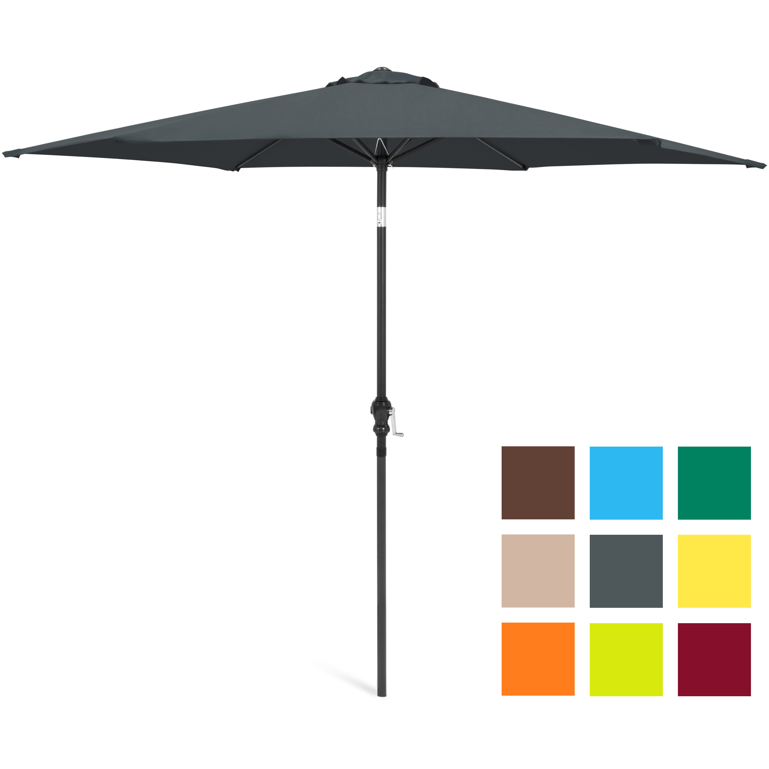 10FT Steel Market Outdoor Patio Umbrella Crank, Tilt Push Button Multiple Colors by Best Choice Products