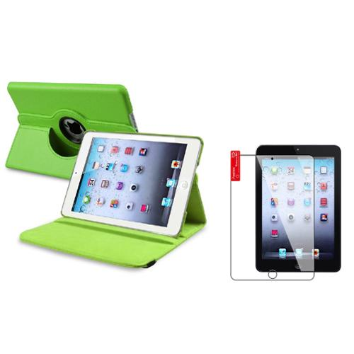 iPad Mini 3/2/1 Case, by Insten Green Case Rotating Leather Case Cover+2pcs Protector for Apple iPad Mini 1 2 3