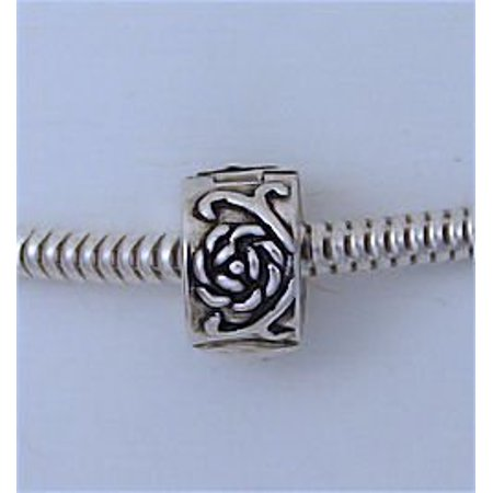 Antique Silver Clip - ROSE Flower Clip Lock Stopper Antiqued Silver Tone European Bead