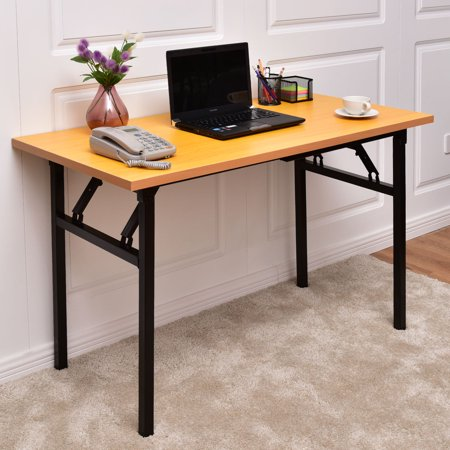 goplus folding computer desk pc laptop table writing workstation