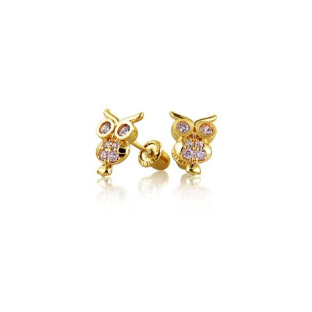 Tiny CZ Lucky Wise Owl Bird Stud Earrings For Women For Teen Cubic Zirconia Real 14K Yellow Gold Screwback