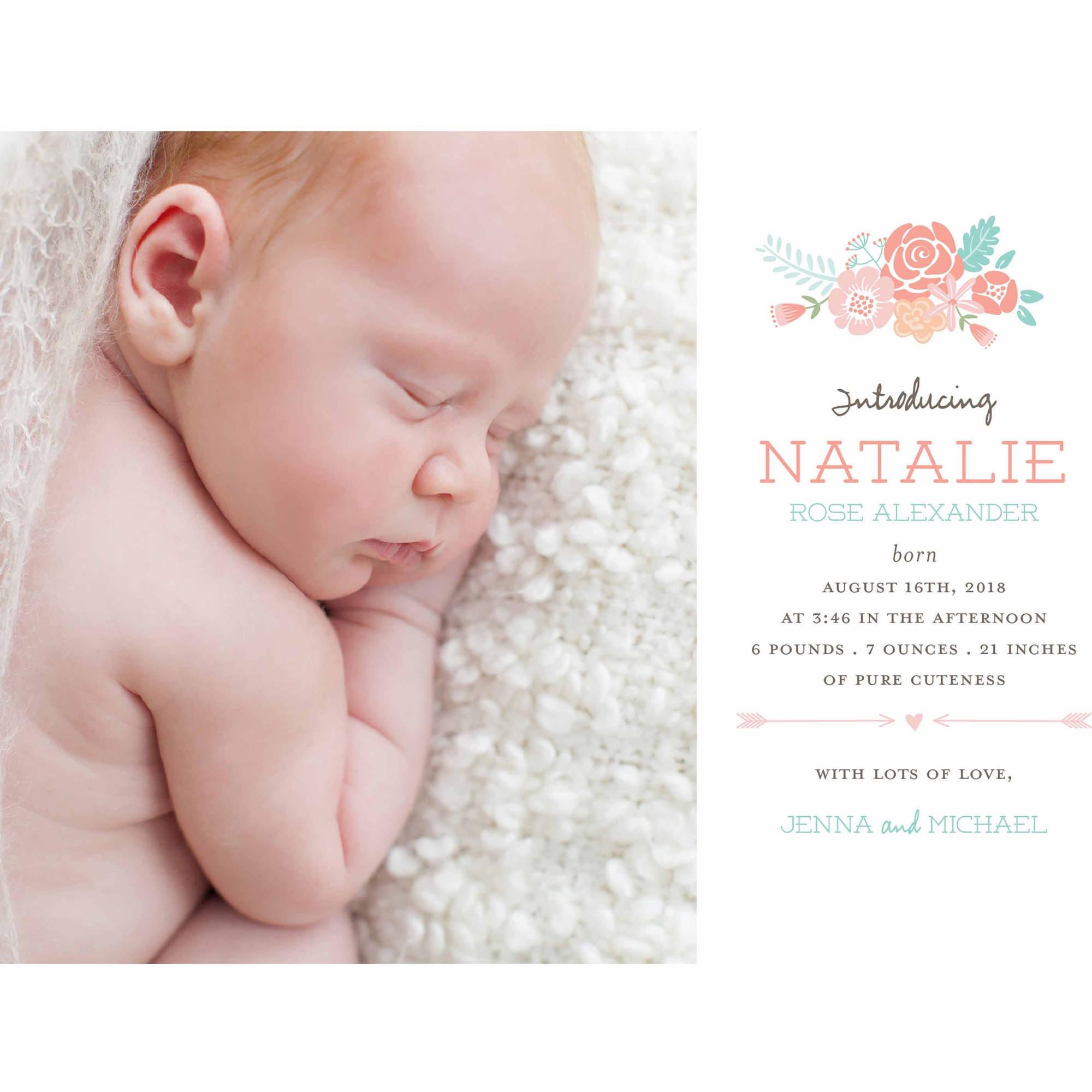 Precious Blooms Standard Baby Announcement