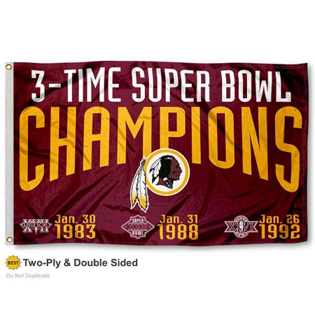 Washington Redskins 3 Time Super Bowl Champions Two Sided Flag