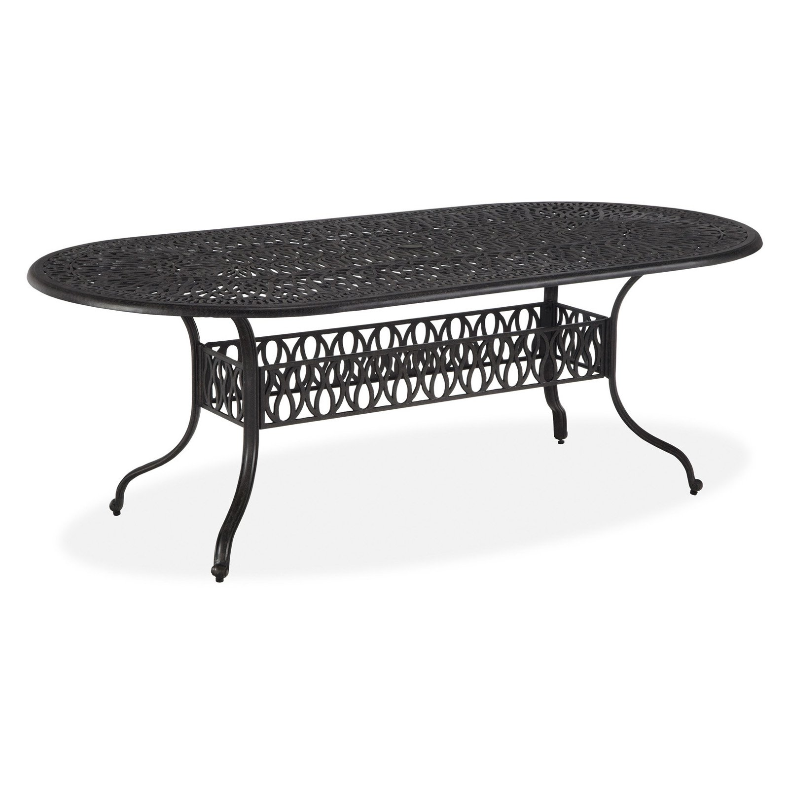 Home Styles Floral Blossom Oval Outdoor Dining Table, Charcoal