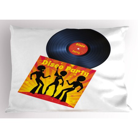 70s Party Pillow Sham Vinyl Record Cover with Disco Party Illustration Dancers Music Art Print, Decorative Standard Size Printed Pillowcase, 26 X 20 Inches, Orange Yellow White, by Ambesonne