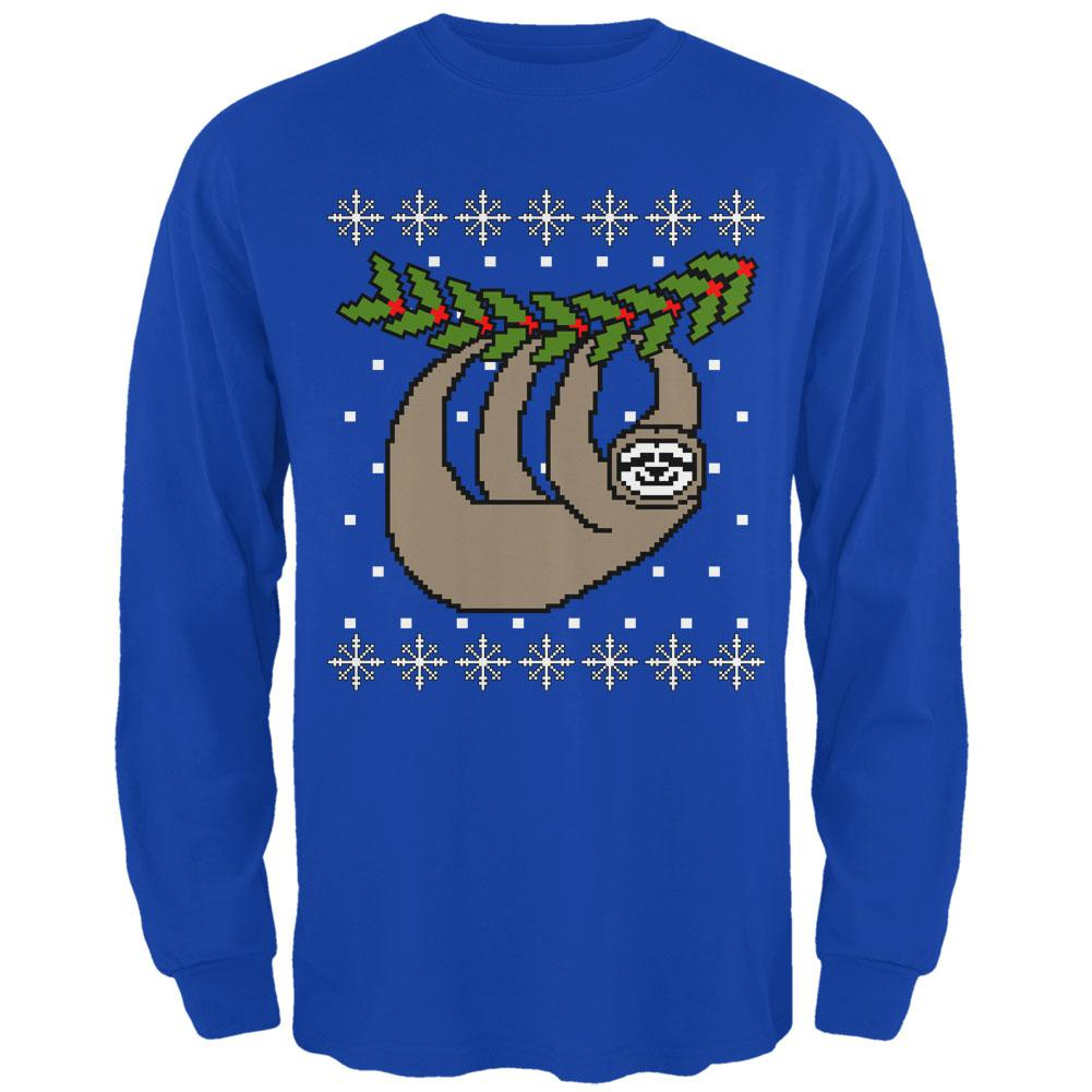 Big Hanging Sloth Ugly Christmas Sweater Mens Long Sleeve T Shirt