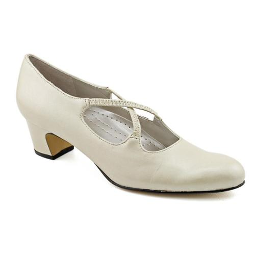 Trotters Jamie Women SS Round Toe Leather Ivory Heels by Trotters