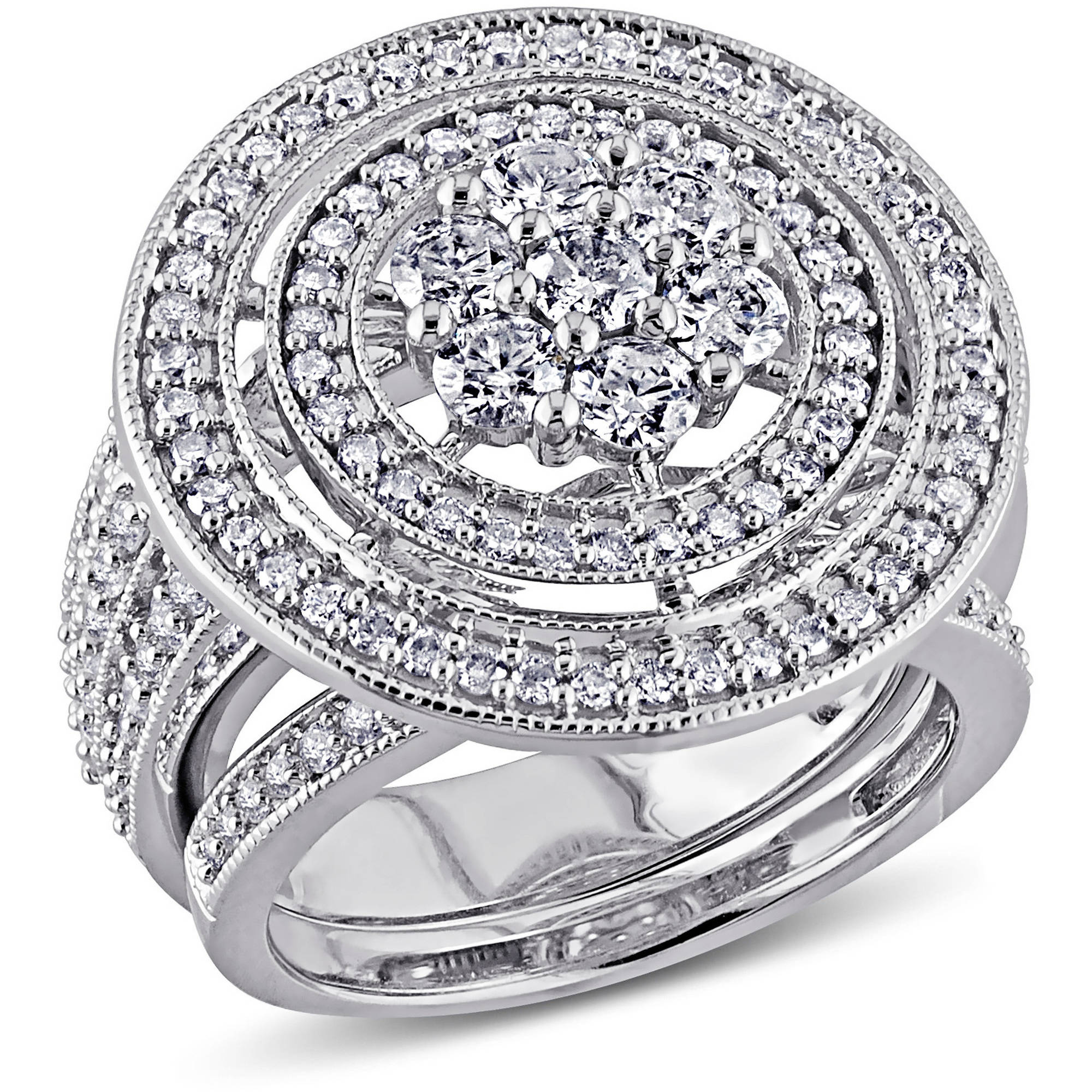 Miabella 2 Carat T.W. Diamond 10kt White Gold Bridal Set