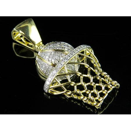 Mens yellow gold finish real diamond basketball pendant charm 10 mens yellow gold finish real diamond basketball pendant charm 10ct mozeypictures Images