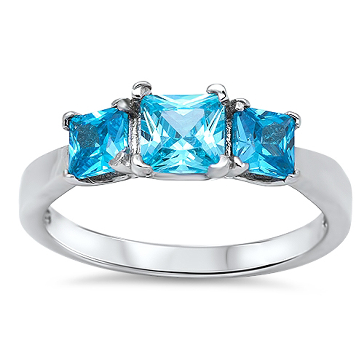 Sterling Silver Women's Flawless Simulated Aquamarine Cubic Zirconia Triple Square Princess Wedding Ring (Sizes 4-12) (Ring Size 6)
