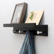 Wall Mount Hanger Wood Storage Coat Rack Hat Key Holder Bag Display Shelf Picture Ledge Coat Hooks Rack with Alloy Hooks for Home, 2 /4 Hooks Black & White