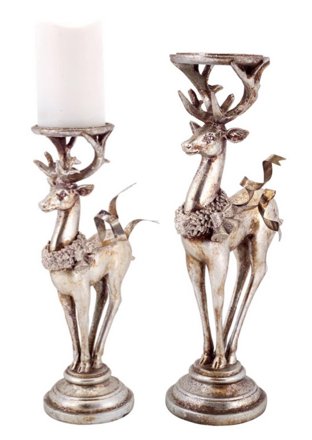 set of 2 distressed silver deer pillar candle holder christmas decorations 16