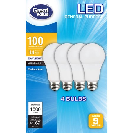 Great Value LED Light Bulbs 14W (100W Equivalent), Daylight, 4-Pack Great Value LED Light Bulbs, 14W, are an energy-efficient choice that deliver the light quality of 100W. Built for durability, their solid structure will outlast most any incandescent bulb while using only one-third of the electricity. These daylight LED light bulbs cast 1,500 lumens of bright light and have a lifespan of up to 9 years. They use only 1/3 as much power as standard incandescent bulbs. The non-dimmable, medium-base design makes them a suitable choice for many different types of chandeliers, lamps and light fixtures. Whether you are studying, cooking or entertaining guests, this 4-pack of Great Value light bulbs will get the job done. They can also be used in commercial applications. Great Value carries a wide range of additional light bulbs in various wattages for general purposes, appliances and more, such as frosted globes and 3-way bulbs. All items are sold separately.