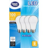 Great Value LED Light Bulbs 14W (100W Equivalent), Daylight, 4-Pack