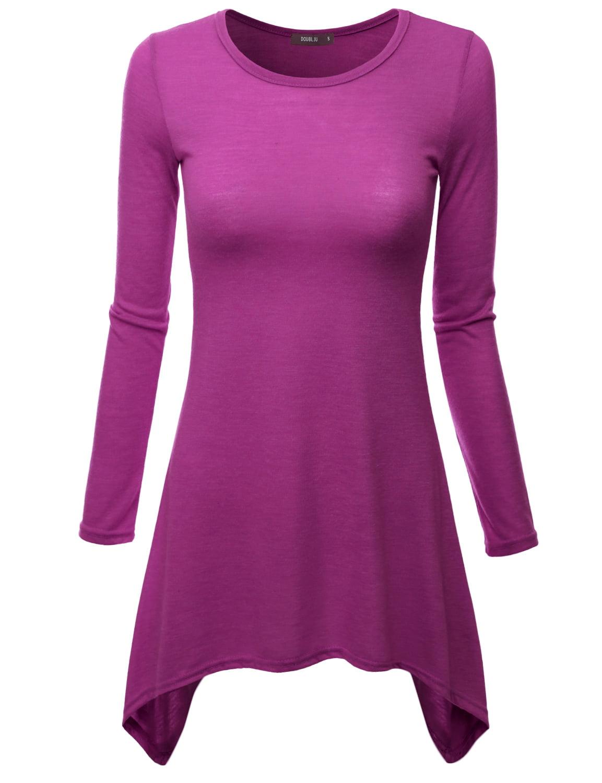 781b0a0bc5293 Doublju womens tunic tops for leggings long sleeve shirt purple jpeg  450x450 Purple top tunic leggings