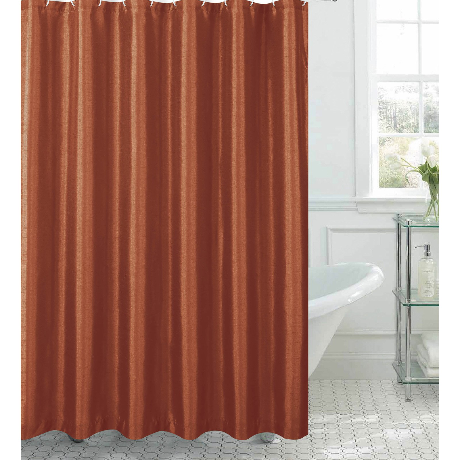 Click here to buy Jane Faux Silk Shower Curtain with 12 Metal Rings by YMF Carpets Inc..