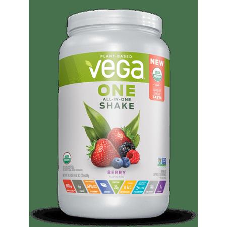 Vega One Organic All-in-One Plant Protein Powder, Berry, 20g Protein, 1.5lb, 24.3oz (Zero Belly Protein Powder)