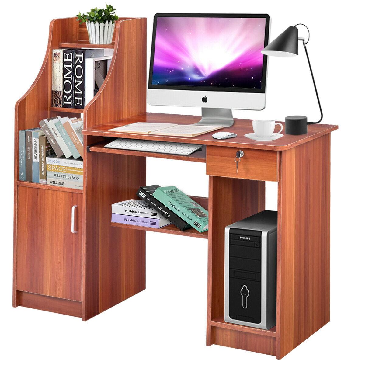 Gymax Computer Study Desk Laptop Table Writing Workstation W/Bookshelf -  Walmart.com