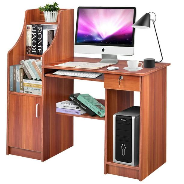 Gymax Computer Study Desk Laptop Table Writing Workstation W Bookshelf Walmart Com Walmart Com