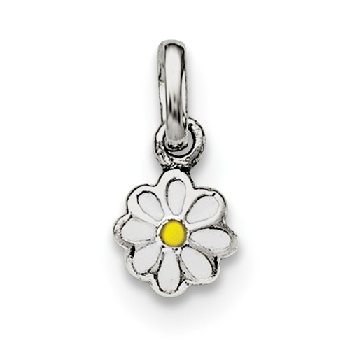 Sterling Silver Rhodium-plated Child's White & Yellow Enamel Daisy Pendant