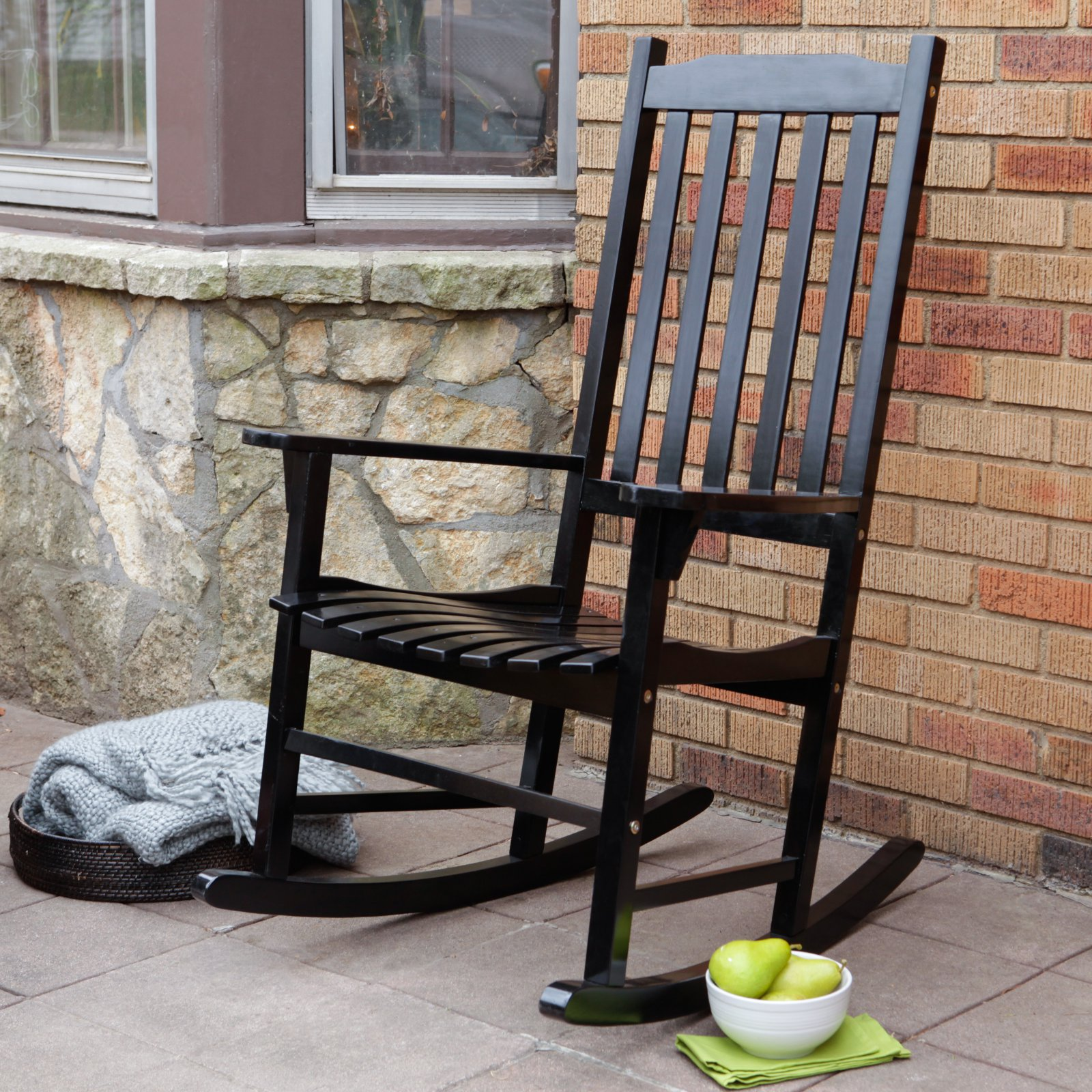 Superieur Coral Coast Indoor/Outdoor Mission Slat Rocking Chair   Black