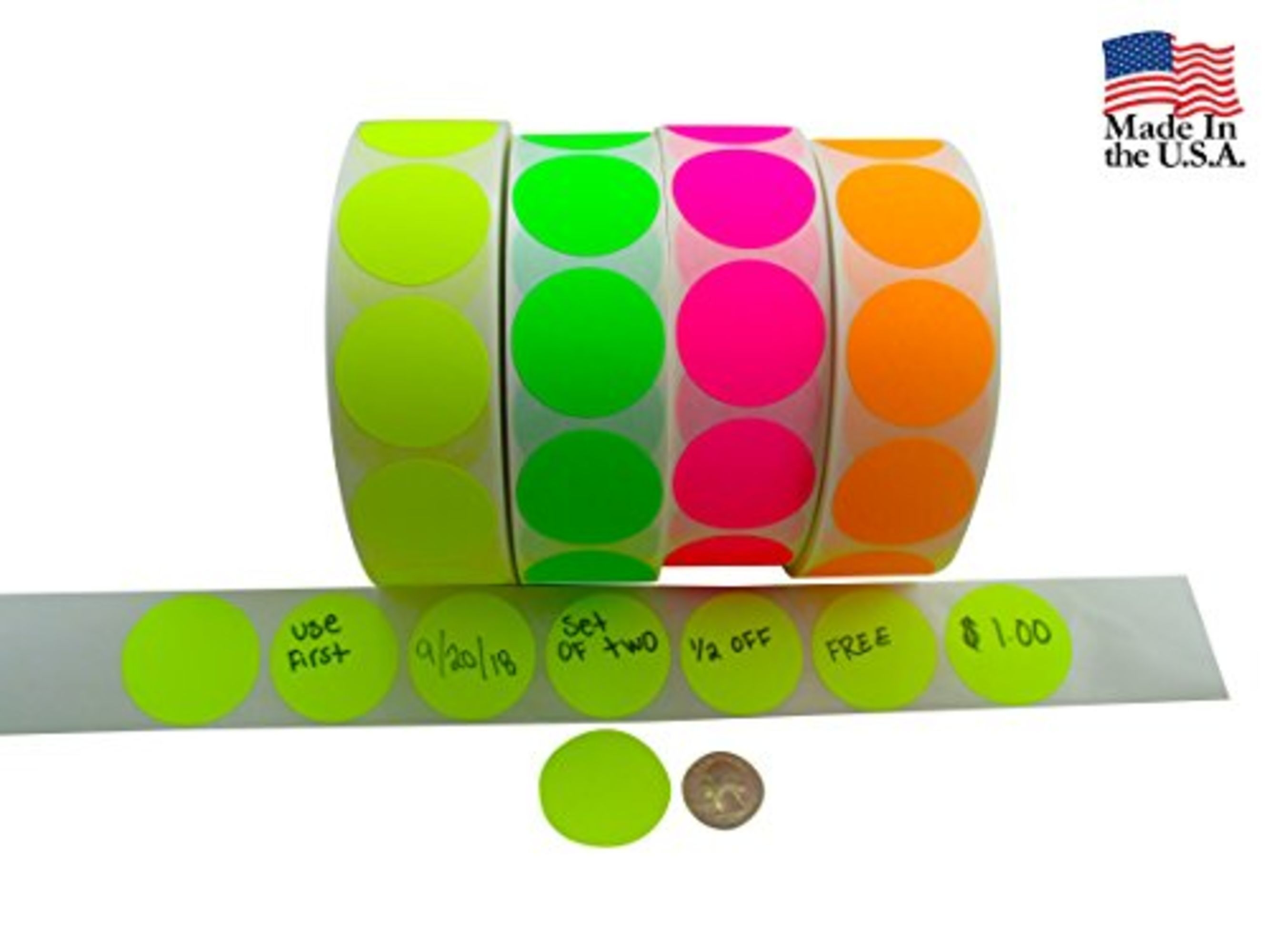 Circle stickers color coding labels super bright fluorescent neon yellow green orange and pink