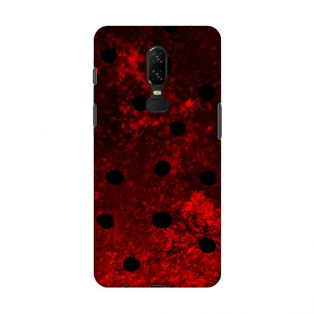 OnePlus 6 Case - Lady Bug - Black Dots On Lava Plastered Effect, Hard Plastic Back Cover, Slim Profile Cute Printed Designer Snap on Case with Screen Cleaning Kit