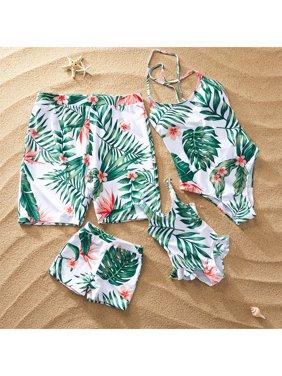 PatPat Summer Floral Breeze Family Matching Swimsuit Women Men Boy Girl Beach Swimwear