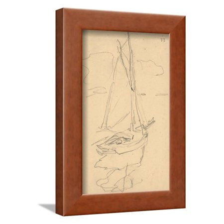 - Small Yacht on the Norman Coast (Pencil on Paper) Framed Print Wall Art By Claude Monet