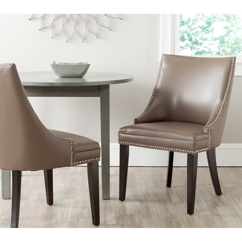 Safavieh Afton Bicast Leather Side Chair with Silver Nail Heads, Set of 2