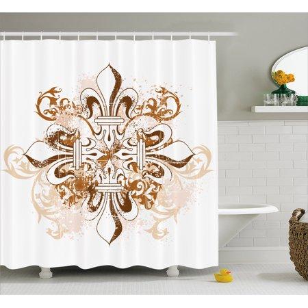 Fleur De Lis Shower Curtain, Ancient Antique Heraldry Symbol Vintage Floral Swirls Traditional Old Fashion, Fabric Bathroom Set with Hooks, Brown White, by