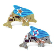 Puzzled Dolphin Refrigerator Blue Wave Magnet - Ocean Life Theme - Set of 2 - Unique Affordable Gift and Souvenir - Item #7636