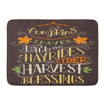 LADDKE Autumn Pumpkins Leaves Fall Hay Rides Cider Harvest Blessings Hand Lettering Sign Holiday Quote Doormat Floor Rug Bath Mat 23.6x15.7 inch