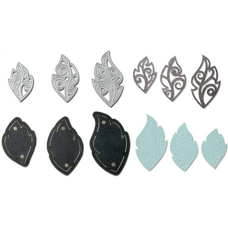 4 Piece Dies Set - Sizzix Movers & Shapers Magnetic Die Set 3PK w/Thinlits Leaf Charms