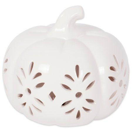 DII Halloween White Pumkpin Decorative Tealight Ceramic LED Lantern Ideal for Indoor Home Decor, Outdoor Lighting, Farmhouse, Short, Damask Design