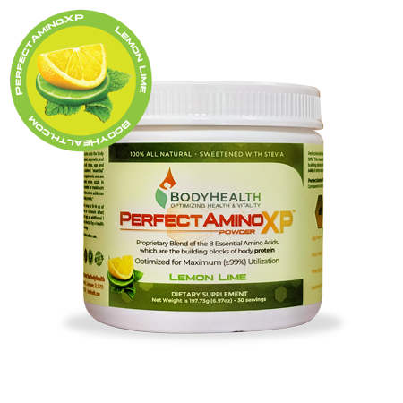 BodyHealth PerfectAmino XP Lemon Lime (30 Servings), Best Pre/Post Workout Recovery Drink, 8 Essential Amino Acids Energy Supplement with 50% BCAAs, 100% Organic, 99% (Best Weight Workout For 50 Year Old Man)