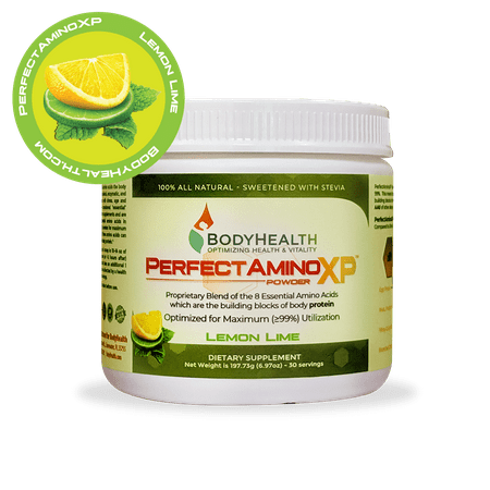 BodyHealth PerfectAmino XP Lemon Lime (30 Servings), Best Pre/Post Workout Recovery Drink, 8 Essential Amino Acids Energy Supplement with 50% BCAAs, 100% Organic, 99%