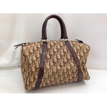 Signature Monogram Oblique Boston 896016 Brown Canvas X Leather (Dior Purse Price)