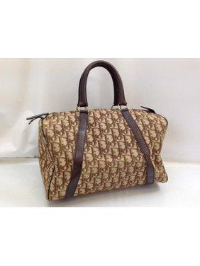 Product Image Signature Monogram Oblique Boston 896016 Brown Canvas X  Leather Satchel. Dior b827015fb182a