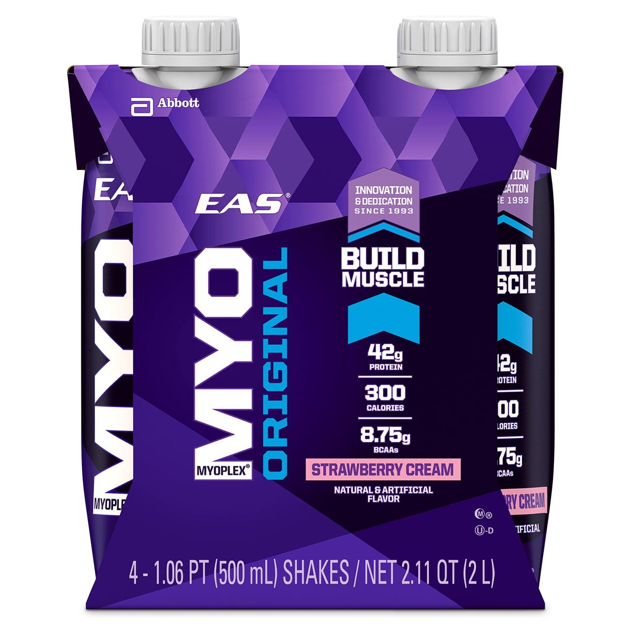 EAS Myoplex Original Ready-to-Drink Nutrition Shake, Strawberry Cream, 500 mL, (3-4 Packs)