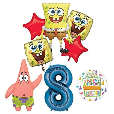 Spongebob Squarepants 8th Birthday Party Supplies and Balloon Bouquet Decorations - Bomb Party